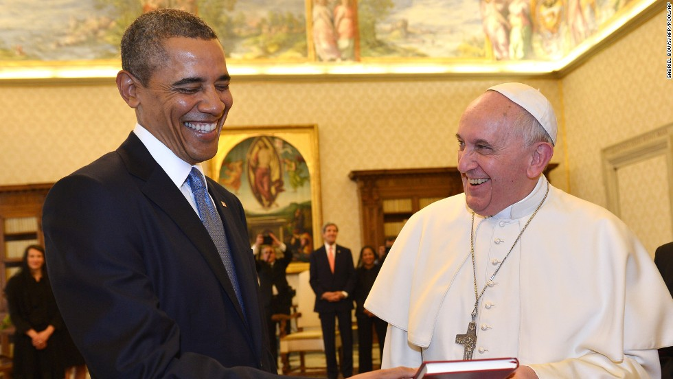 Image result for photos of obama and pope francis