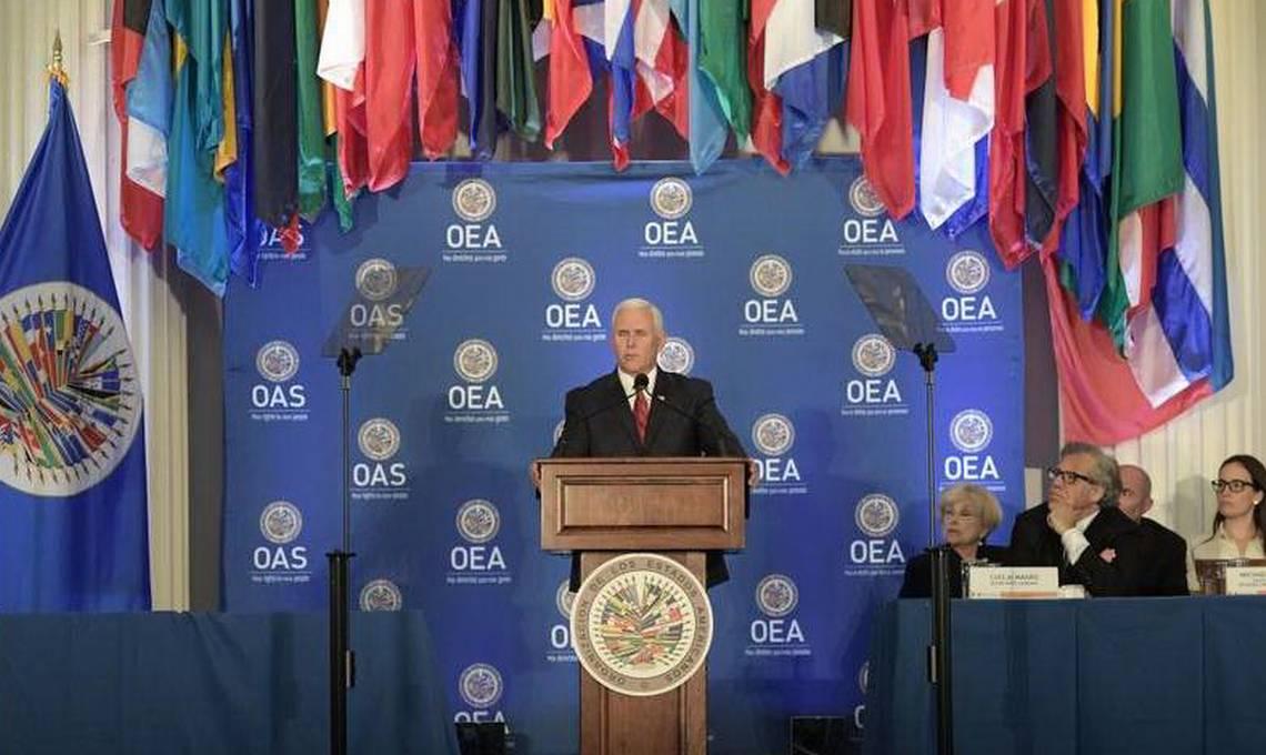 El Vicepresidente Pence Pidió Que La OEA Suspenda A Venezuela Y Su Gobierno Un Cambio De Régimen.