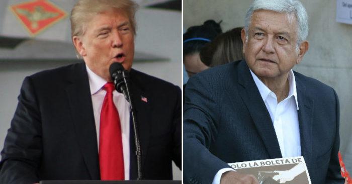 Trump Felicita Al Presidente Electo De México López Obrador.